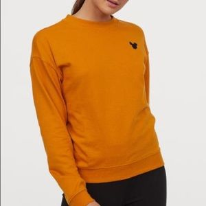 H and M Orange Yellow Mickey Mouse Shirt